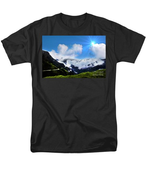 Men's T-Shirt  (Regular Fit) featuring the photograph Highway Through The Andes - Painting by Al Bourassa