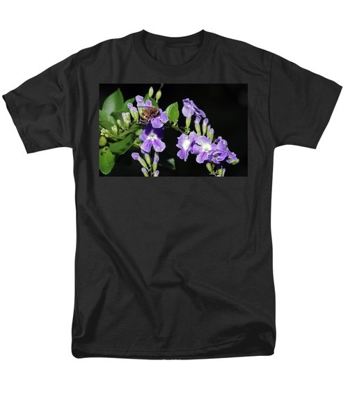 Men's T-Shirt  (Regular Fit) featuring the photograph Honeybee On Golden Dewdrop II by Richard Rizzo