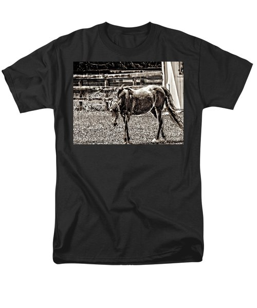 Horse In Black And White Men's T-Shirt  (Regular Fit) by Annie Zeno