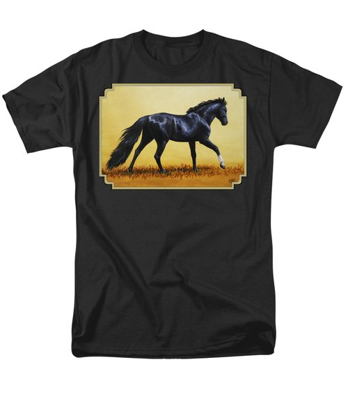 Horse Painting - Black Beauty Men's T-Shirt  (Regular Fit) by Crista Forest