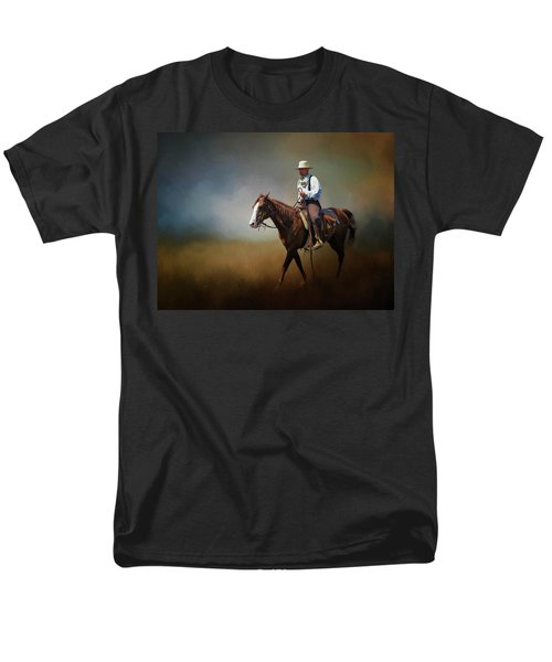 Men's T-Shirt  (Regular Fit) featuring the photograph Horse Ride At The End Of Day by David and Carol Kelly