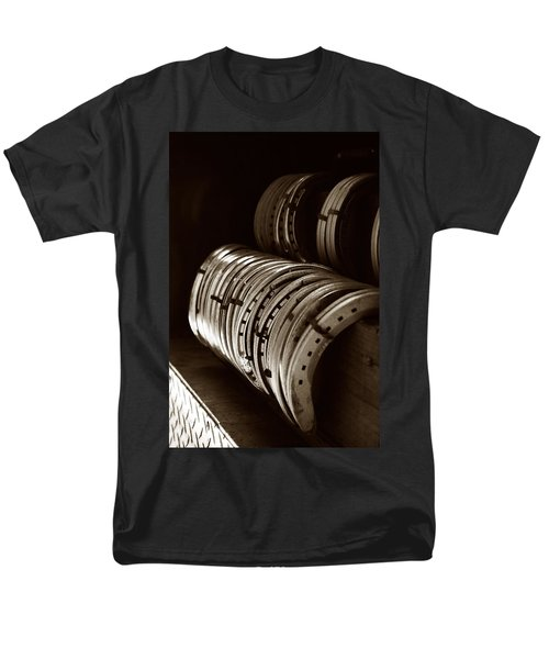 Men's T-Shirt  (Regular Fit) featuring the photograph Horse Shoes In Sepia by Angela Rath