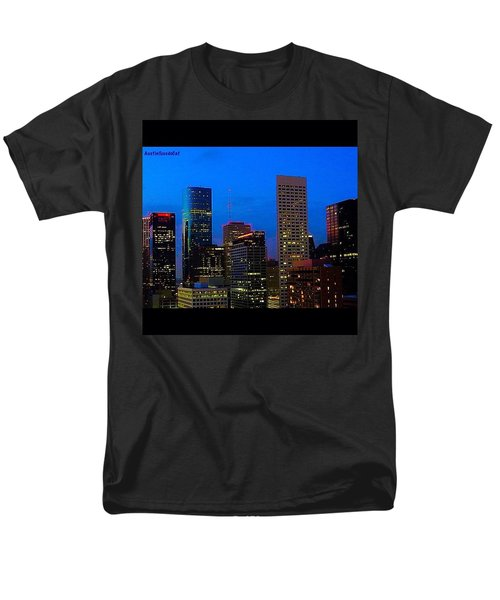 #houston #skyline At #night. #lights Men's T-Shirt  (Regular Fit) by Austin Tuxedo Cat