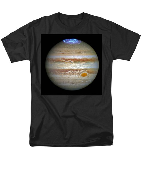 Men's T-Shirt  (Regular Fit) featuring the photograph Hubble Captures Vivid Auroras In Jupiter's Atmosphere by Nasa