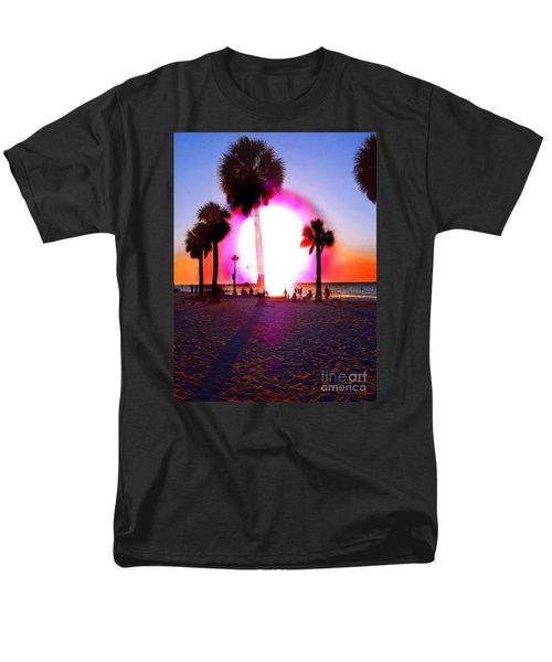 Huge Sun Pine Island Sunset  Men's T-Shirt  (Regular Fit) by Expressionistart studio Priscilla Batzell