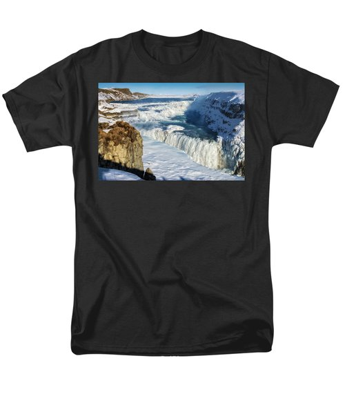 Men's T-Shirt  (Regular Fit) featuring the photograph Iceland Gullfoss Waterfall In Winter With Snow by Matthias Hauser