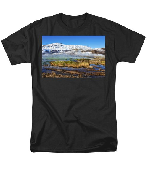 Men's T-Shirt  (Regular Fit) featuring the photograph Iceland Landscape Geothermal Area Haukadalur by Matthias Hauser