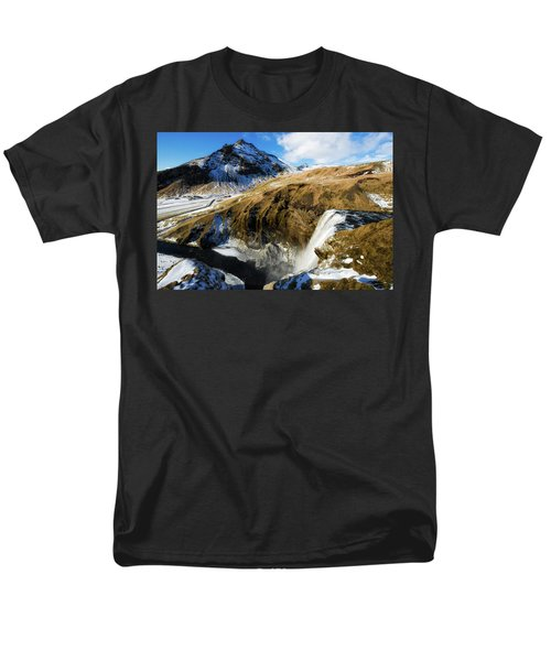 Men's T-Shirt  (Regular Fit) featuring the photograph Iceland Landscape With Skogafoss Waterfall by Matthias Hauser