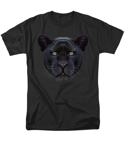 Illustrated Portrait Of Black Panther.  Men's T-Shirt  (Regular Fit) by Altay Savrukov