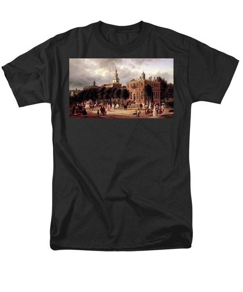 Men's T-Shirt  (Regular Fit) featuring the painting Independence Hall by Ferdinand Richardt
