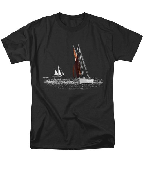 Isolated Yacht Carrick Roads On A Transparent Background Men's T-Shirt  (Regular Fit) by Terri Waters