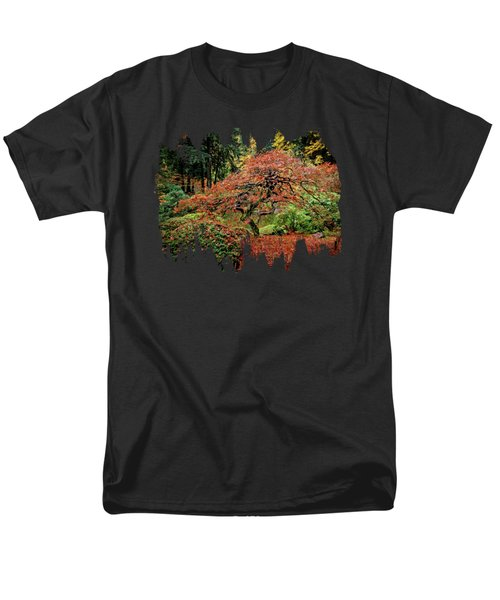 Men's T-Shirt  (Regular Fit) featuring the photograph Japanese Maple At The Japanese Gardens Portland by Thom Zehrfeld