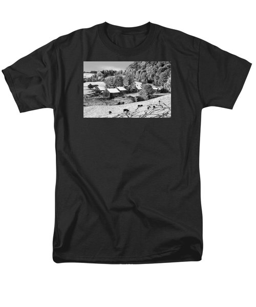 Men's T-Shirt  (Regular Fit) featuring the photograph Jenne Farm In Autumn Black And White Scenic Landscape by Betty Denise