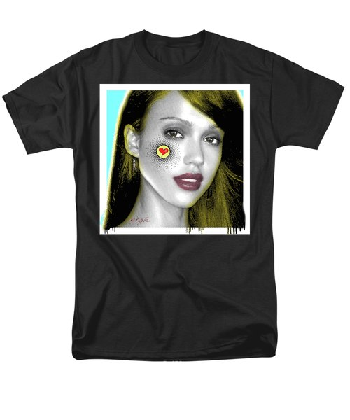 Jessica Alba Pop Art, Portrait, Contemporary Art On Canvas, Famous Celebrities Men's T-Shirt  (Regular Fit) by Dr Eight Love