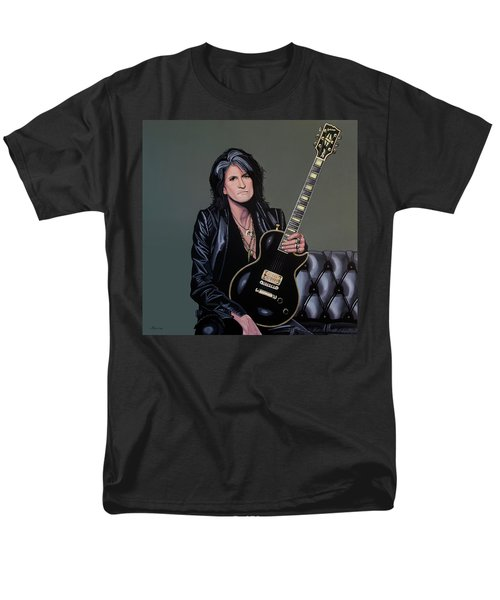 Joe Perry Of Aerosmith Painting Men's T-Shirt  (Regular Fit) by Paul Meijering