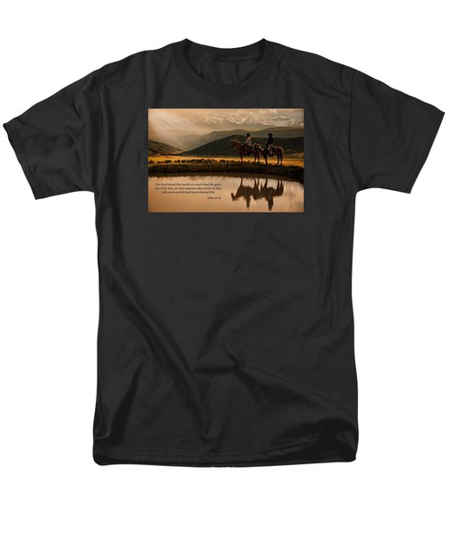 Men's T-Shirt  (Regular Fit) featuring the photograph John 3 16 Scripture And Picture by Ken Smith
