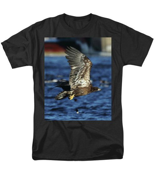 Men's T-Shirt  (Regular Fit) featuring the photograph Juvenile Bald Eagle Over Water by Coby Cooper