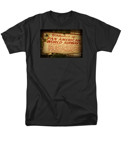 Key West Florida - Pan American Airways Birthplace Sign Men's T-Shirt  (Regular Fit) by John Stephens