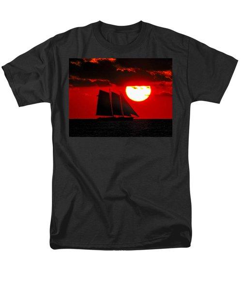 Key West Sunset Sail Silhouette Men's T-Shirt  (Regular Fit) by Bob Slitzan
