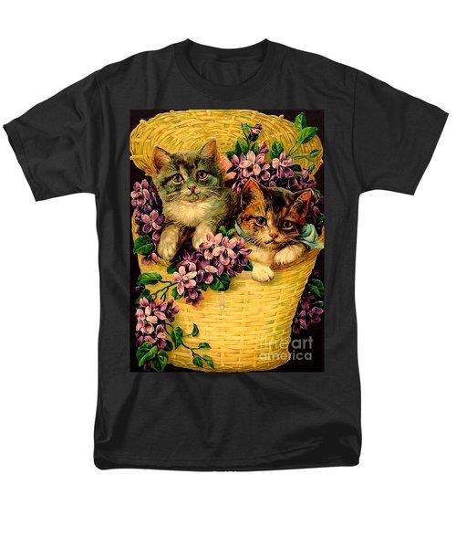 Kittens With Violets Victorian Print Men's T-Shirt  (Regular Fit)