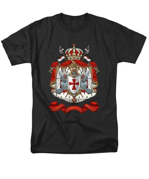 Knights Templar - Coat Of Arms Over Black Velvet Men's T-Shirt  (Regular Fit) by Serge Averbukh