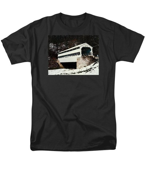 Knox Covered Bridge Historical Place Men's T-Shirt  (Regular Fit) by Sally Weigand
