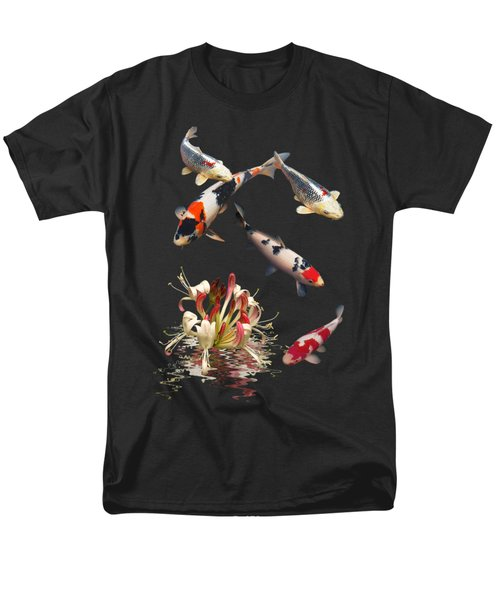 Koi With Honeysuckle Reflections Vertical Men's T-Shirt  (Regular Fit) by Gill Billington