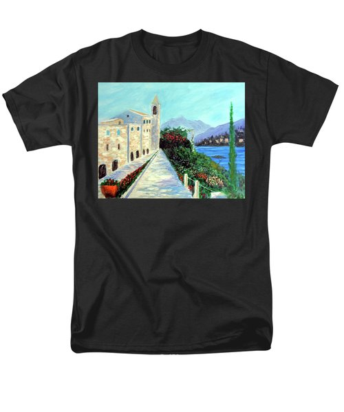 Men's T-Shirt  (Regular Fit) featuring the painting Lake Como Colors  by Larry Cirigliano