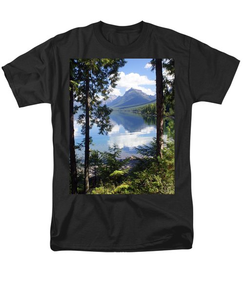 Lake Mcdlonald Through The Trees Glacier National Park Men's T-Shirt  (Regular Fit) by Marty Koch