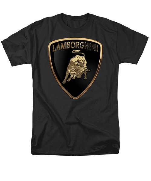 Lamborghini - 3d Badge On Black Men's T-Shirt  (Regular Fit) by Serge Averbukh