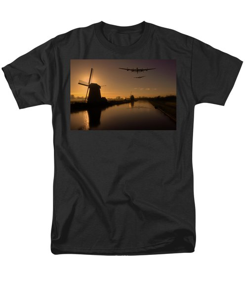 Lancaster Bombers And Dutch Windmills Men's T-Shirt  (Regular Fit) by Ken Brannen