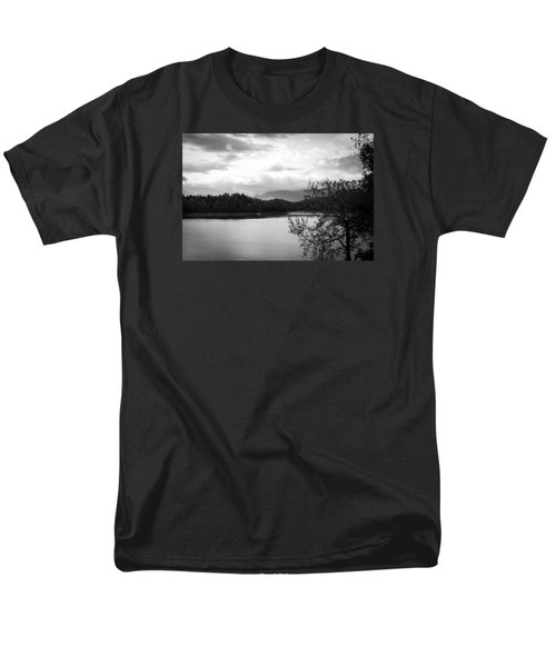 Landscape In Black And White Nantahala River Blue Ridge Mountains Men's T-Shirt  (Regular Fit) by Kelly Hazel