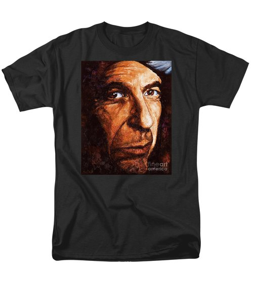 Men's T-Shirt  (Regular Fit) featuring the painting Leonard Cohen by Igor Postash