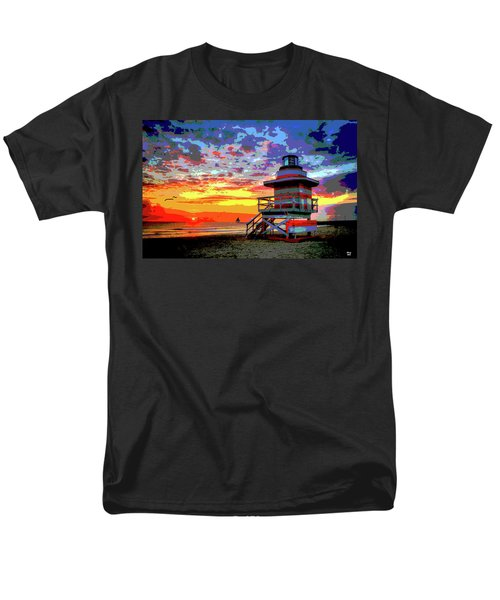 Lifeguard Tower At Miami South Beach, Florida Men's T-Shirt  (Regular Fit) by Charles Shoup