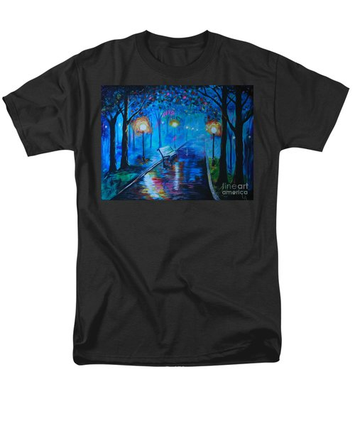 Men's T-Shirt  (Regular Fit) featuring the painting Lighted Parkway by Leslie Allen