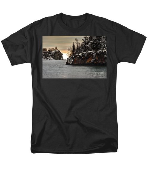 Lighthouse And Island At Dawn Men's T-Shirt  (Regular Fit) by Larry Ricker