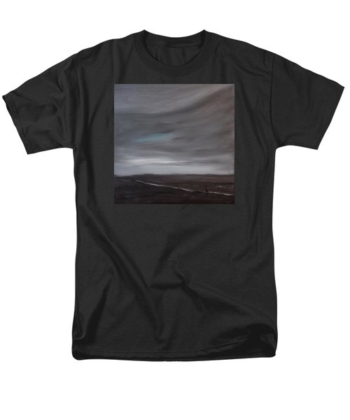 Men's T-Shirt  (Regular Fit) featuring the painting Little Woman In Large Landscape by Tone Aanderaa