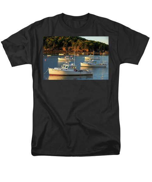 Men's T-Shirt  (Regular Fit) featuring the photograph Lobster Boats At Bar Harbor Me  by Emmanuel Panagiotakis