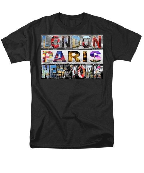 Men's T-Shirt  (Regular Fit) featuring the digital art London Paris New York by Adam Spencer