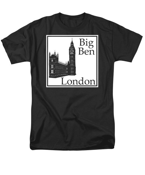 London's Big Ben In White Men's T-Shirt  (Regular Fit) by Custom Home Fashions