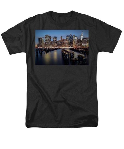 Lower Manhattan Skyline Men's T-Shirt  (Regular Fit) by Eduard Moldoveanu
