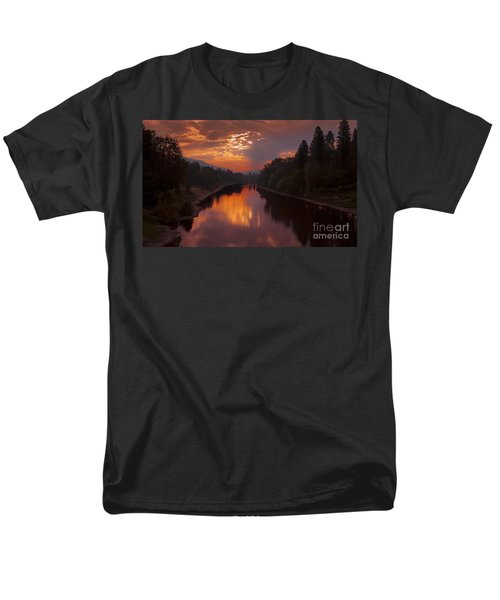Magnificent Clouds Over Rogue River Oregon At Sunset  Men's T-Shirt  (Regular Fit) by Jerry Cowart
