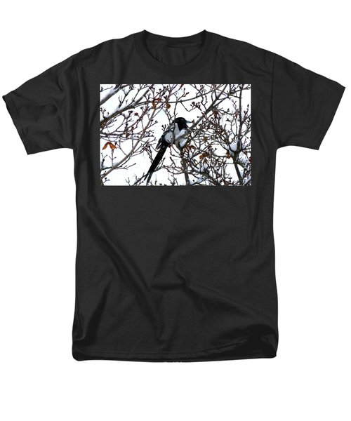 Men's T-Shirt  (Regular Fit) featuring the photograph Magpie In A Snowstorm by Will Borden