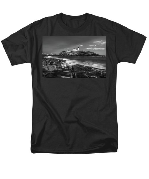 Maine Cape Neddick Lighthouse In Bw Men's T-Shirt  (Regular Fit) by Ranjay Mitra