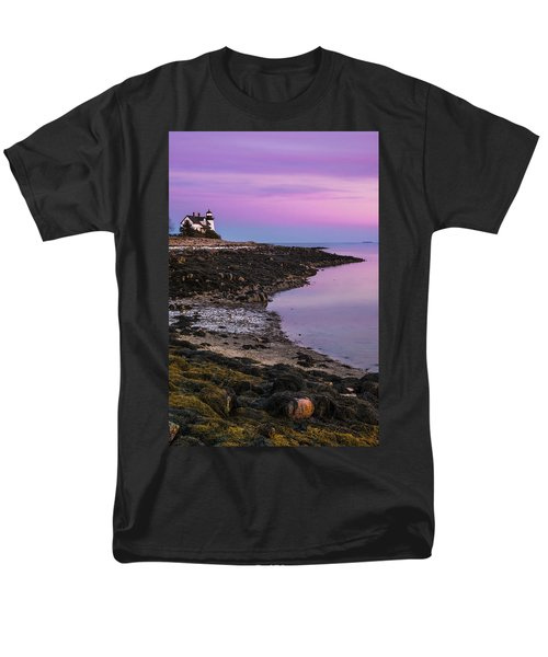 Men's T-Shirt  (Regular Fit) featuring the photograph Maine Prospect Harbor Lighthouse Sunset In Winter by Ranjay Mitra