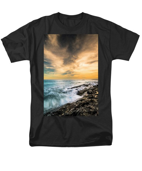 Men's T-Shirt  (Regular Fit) featuring the photograph Maine Rocky Coastal Sunset by Ranjay Mitra