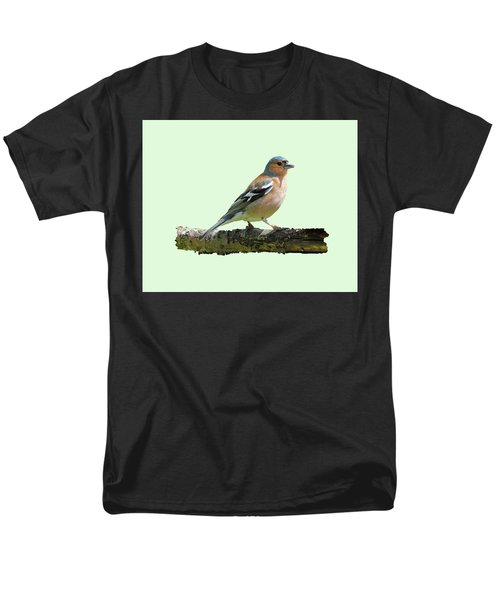 Male Chaffinch, Green Background Men's T-Shirt  (Regular Fit) by Paul Gulliver