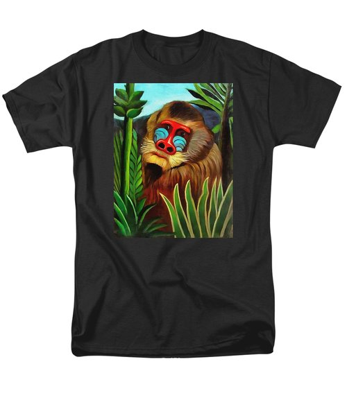 Mandrill In The Jungle Men's T-Shirt  (Regular Fit) by Henri Rousseau