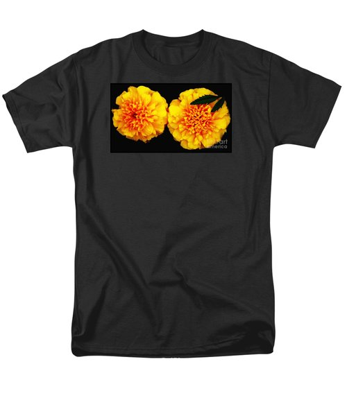 Men's T-Shirt  (Regular Fit) featuring the photograph Marigolds With Oil Painting Effect by Rose Santuci-Sofranko