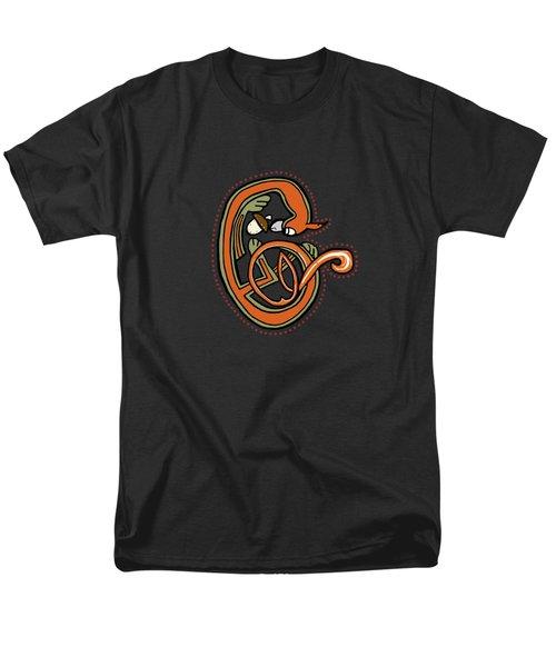 Medieval Squirrel Letter C Blue Men's T-Shirt  (Regular Fit)